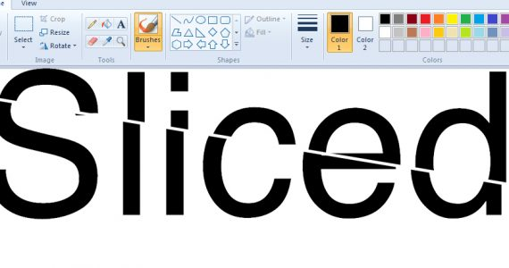Sliced logo in the Windows 10 version of MS Paint.