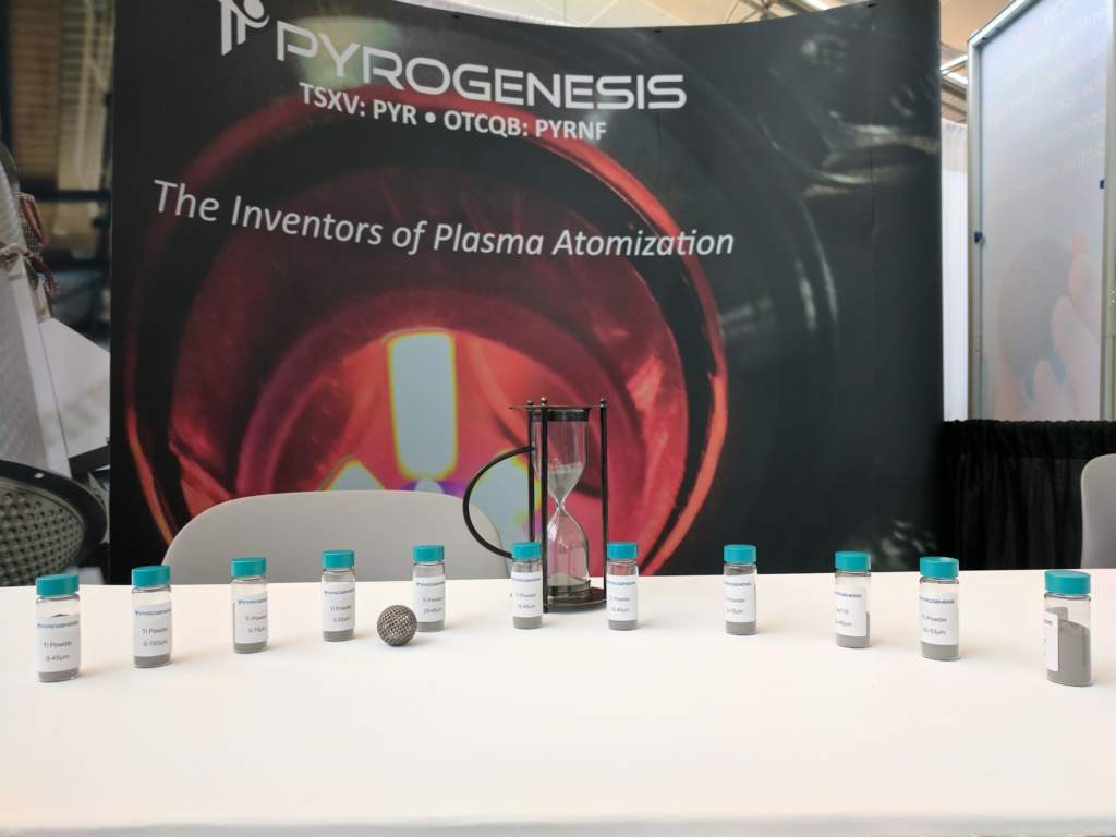 Pyrogenesis metal powders for additive manufacturing. Photo by Michael Petch.