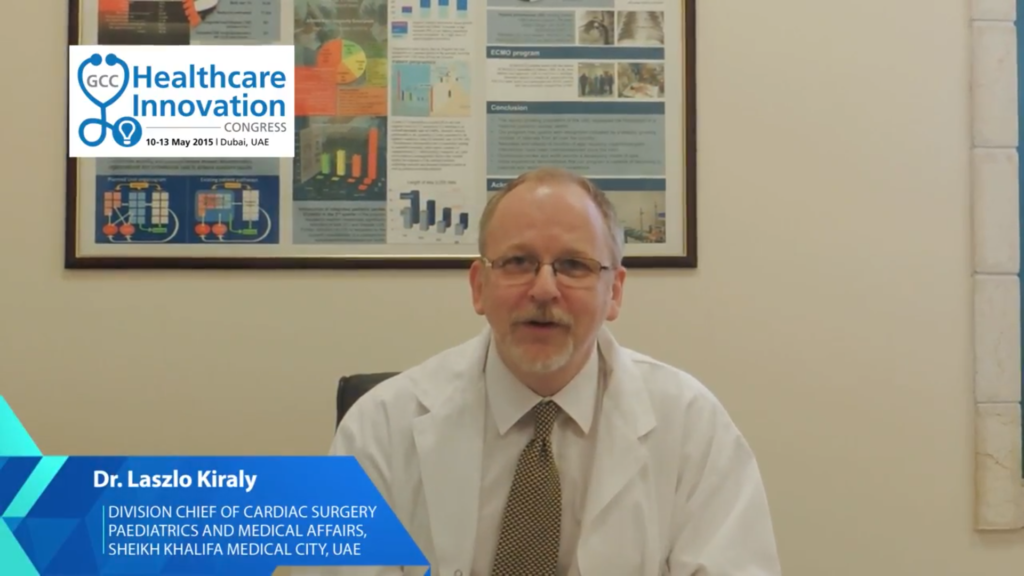 Dr. Laszlo Kiraly speaks on Healthcare Innovation. Screenshot via Maarefah Management on YouTube