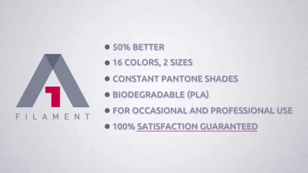 Qualities of A1 Filament as listed on company's Kickstarter. Screenshot via  Ken Aiken