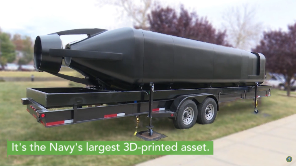 The Navy's largest 3D printed asset. Screenshot via the U.S. DoE.
