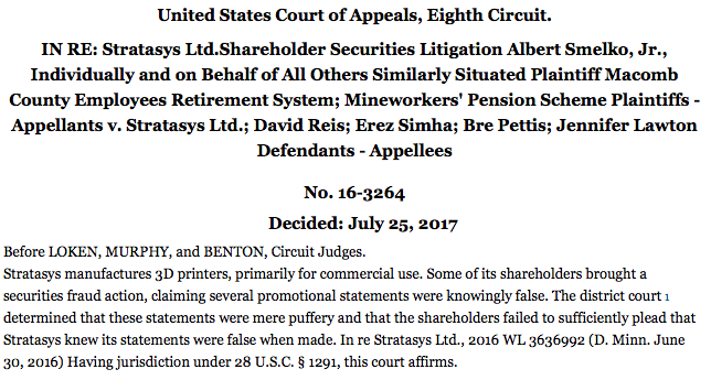 Screenshot of the official decision filed by the United State Court of Appeals Eight Circuit. Image via caselaw.findlaw