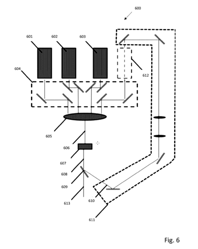 Figure 6 from the patent illustrates a light recycling system. Image via Seurat Technologies, Inc.