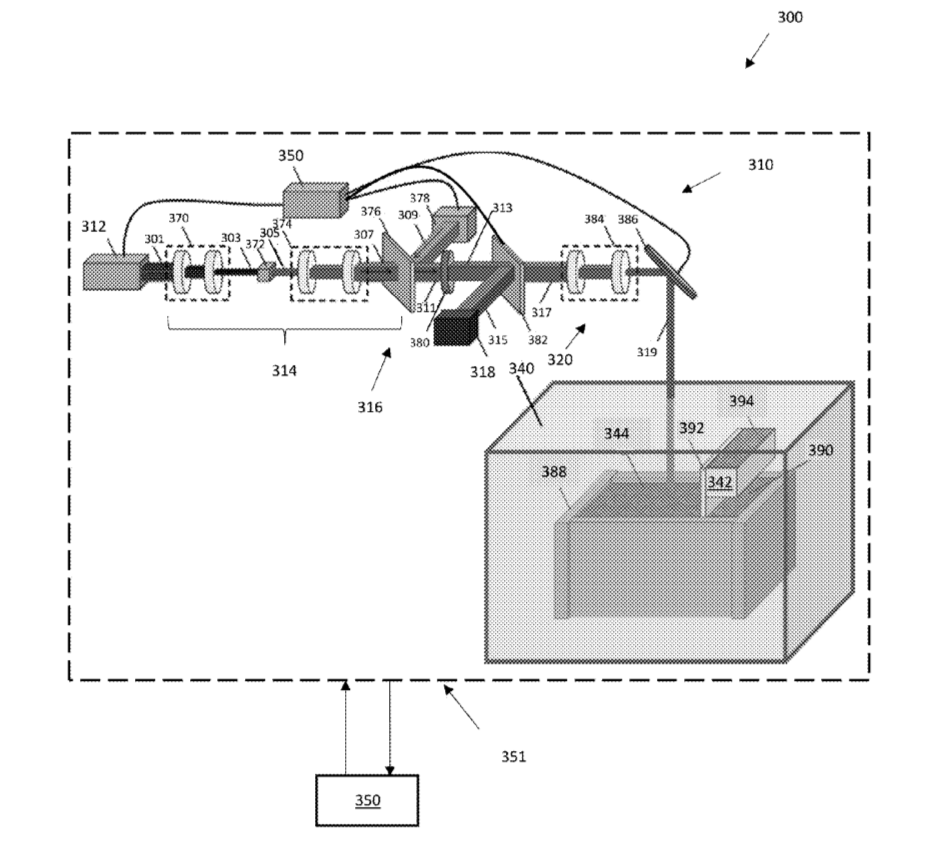 """Figure 3A from the patent, """"an additive manufacturing system including lasers."""" Image via Seurat Technologies, Inc."""