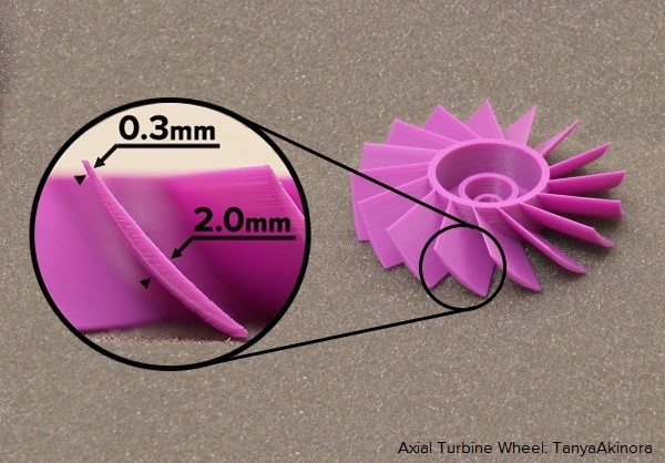 Simplify3D Dynamic Feature Sizing demonstrated on this Fan Blade.