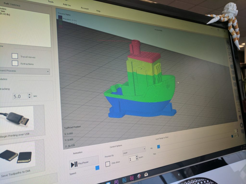 Simplify3D Version 4.0 includes a variable settings wizard. Photo by Michael Petch.