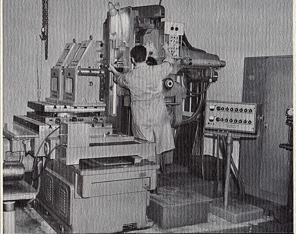 A vintage photo of Imperial's Precision Jig Boring Equipment, circa early 1960s