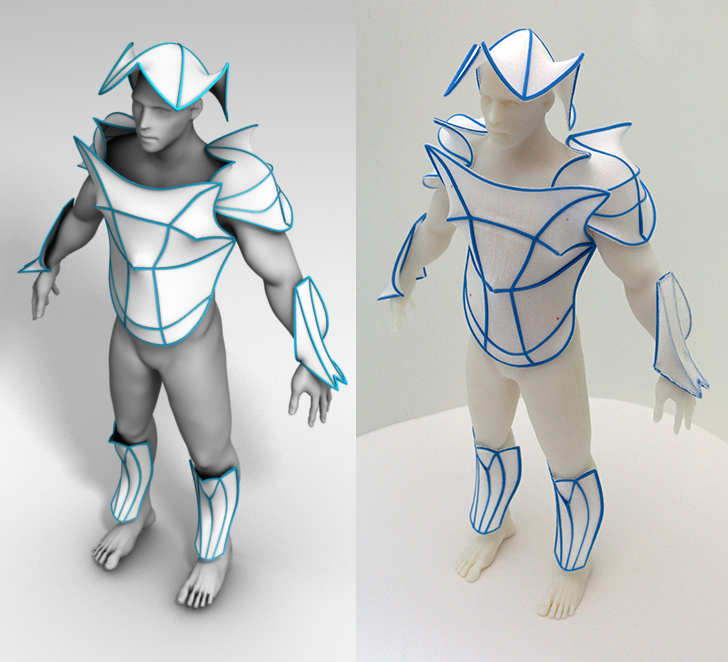 Self activating armour model and prototype. Image via URJC Madrid/Disney Research