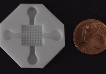 A 3D printed ceramic medical device with cent for scale. Photo via The International Journal of Advanced Manufacturing Technology