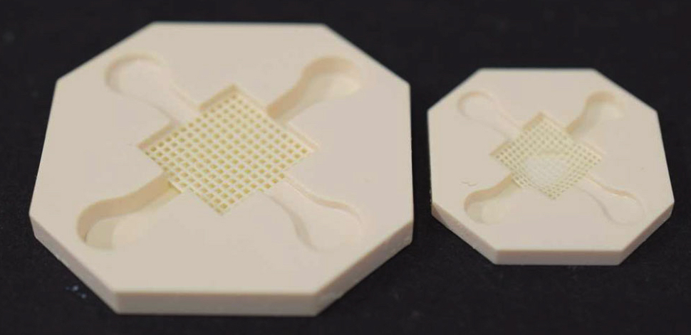 Two trial designs of the ceramic chip, without support under the central grid. Image via The Journal of Advanced Manufacturing Technology