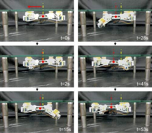 Figure 9 shows the robot's ability to walk upside down. Image via International Journal of Precision Engineering and Manufacturing-Green Technology.