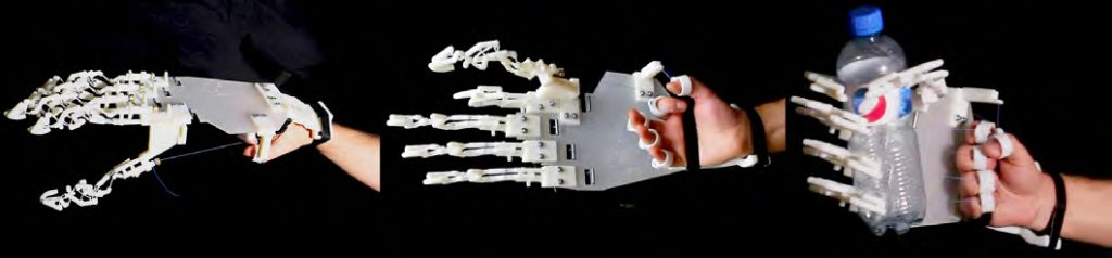 A 3D printed bionic hand design with compliant mechanisms. Photos via Disney Research