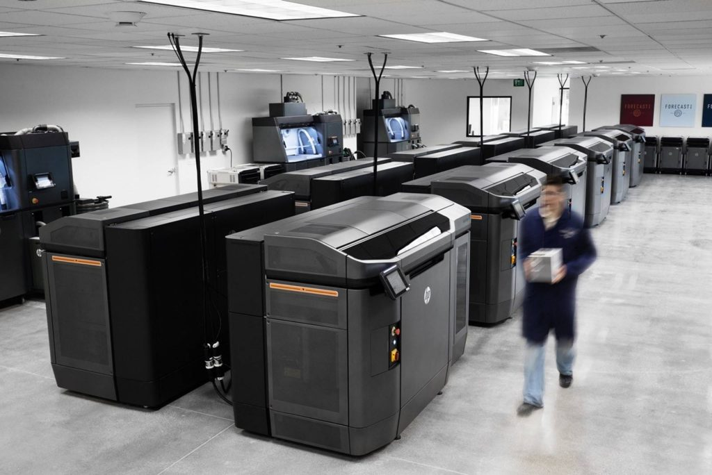 HP Multi Jet Fusion 3D printers at the 3D Manufacturing Center in Carlsbad, CA. Photo via Forecast 3D