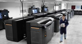 HP Multi Jet Fusion 3D printers at the3D Manufacturing Center in Carlsbad, CA. Photo via Forecast 3D