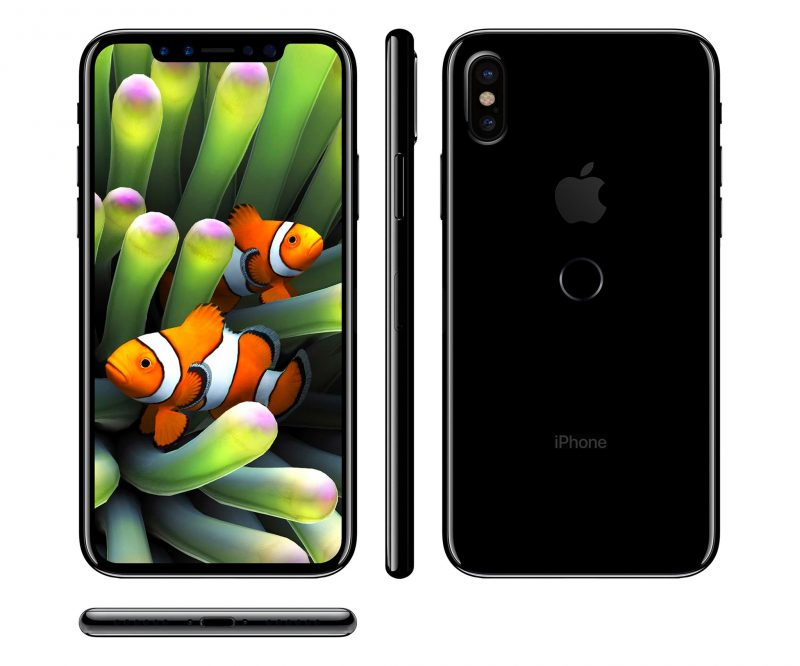 Concept image of the iPhone 8 featuring almost completely bezel-less display.