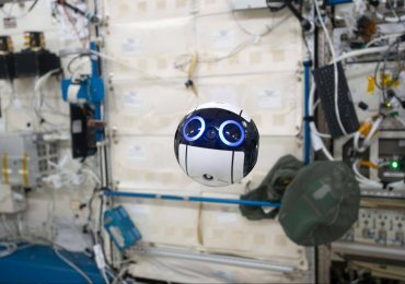The Int-Ball floating aboard the ISS. Photo via Japan Aerospace Exploration Agency (JAXA).