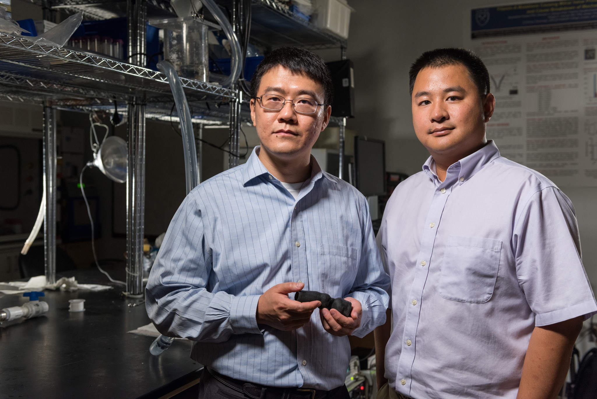 Zhen Qian, chief of Cardiovascular Imaging Research at Piedmont Heart Institute and Kan Wang. Photo via Rob Felt.