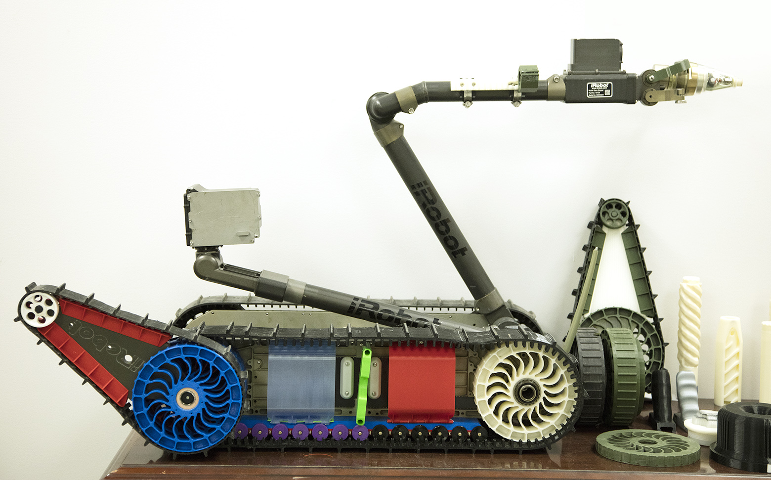 The PackBot with 3D printed parts shown in color. Photo by Erin Usawicz for U.S Army.