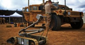 A PackBot deployed on the frontline in Djibouti. Photo via Sgt. Jennifer Pirante.