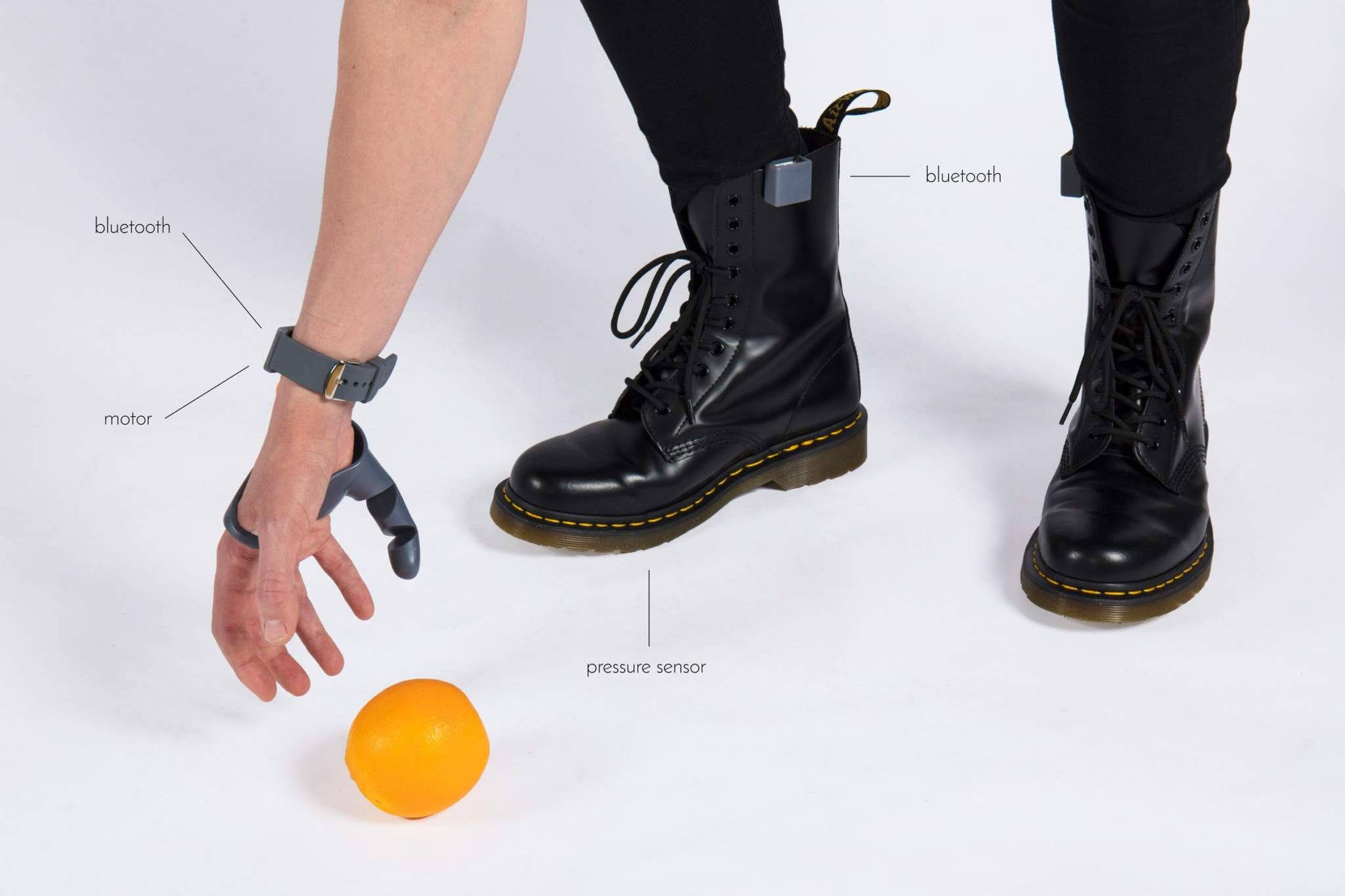 The Third Thumb is connected to pressure sensors to control its movement. Image via Dani Clode.
