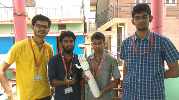 Shrivathsa, Sridhara, Sumantha and Sujay of the MVJ College of Engineering in Bengaluru. Photo via Fractal Works