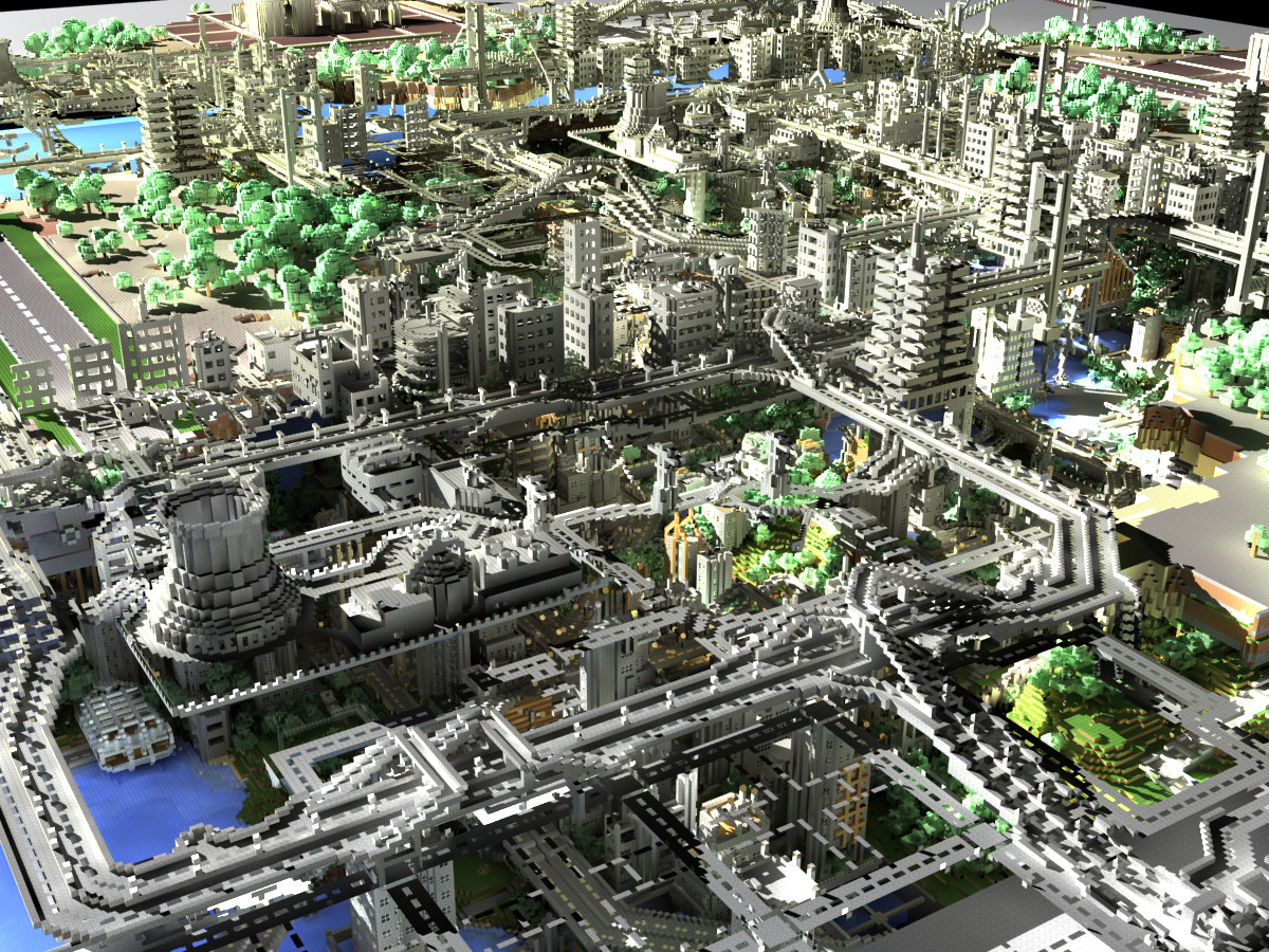 3D Minecraft City Render. Image via Minecraft gallery.