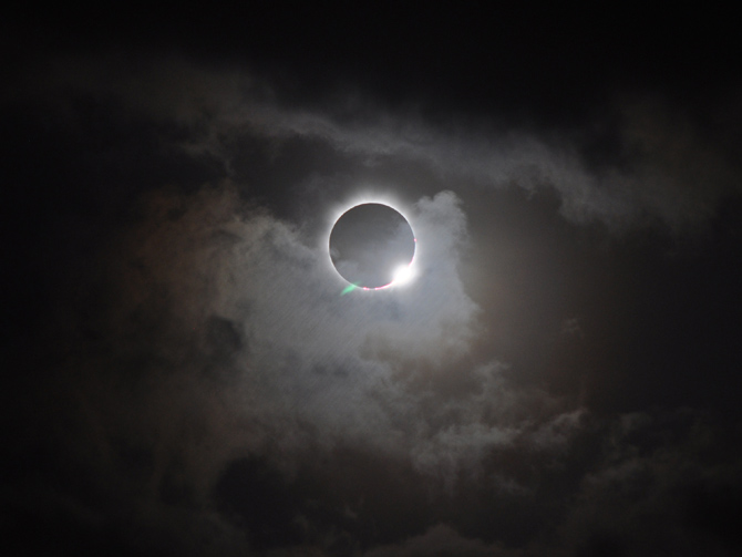 A total solar eclipse viewed in Australia 2012. Photo by Romeo Durscher via NASA