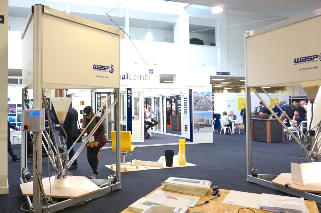 Two Delta WASP 3MT 3D printers seen at Vision 2017 in London. Photo by Beau Jackson for 3D Printing Industry.