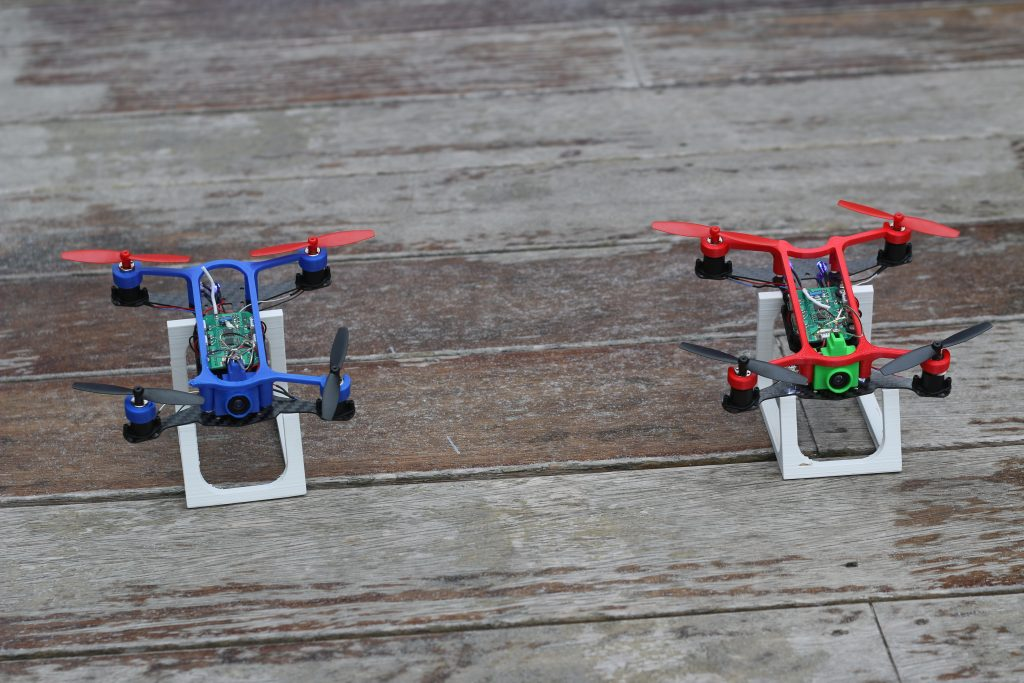 3D printed drones on custom designed launch pads.