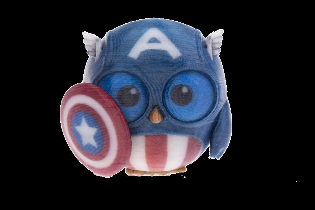 A Captain America owl 3D printed on the da Vinci Color. Photo via XYZprinting
