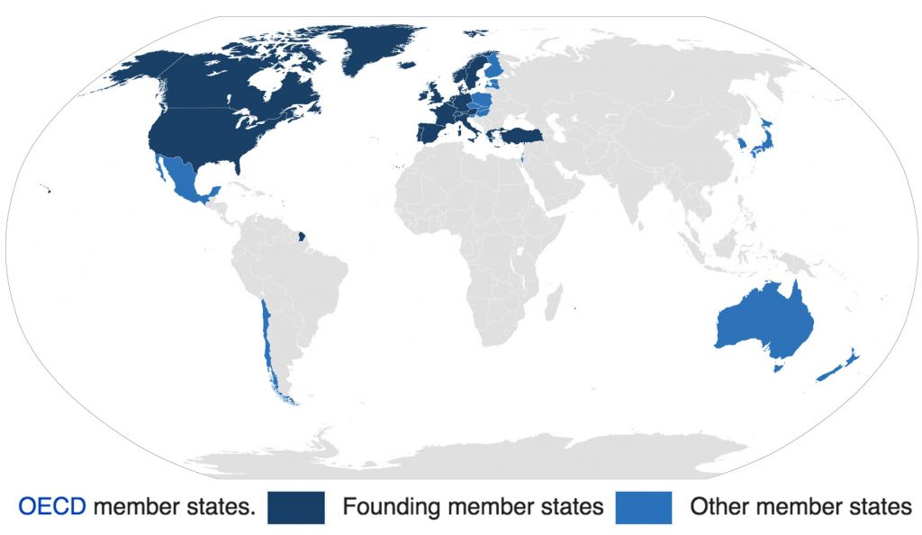 Member states of the OECD. Image via Wikimedia Commons contributors Cflm001 and Emuzesto