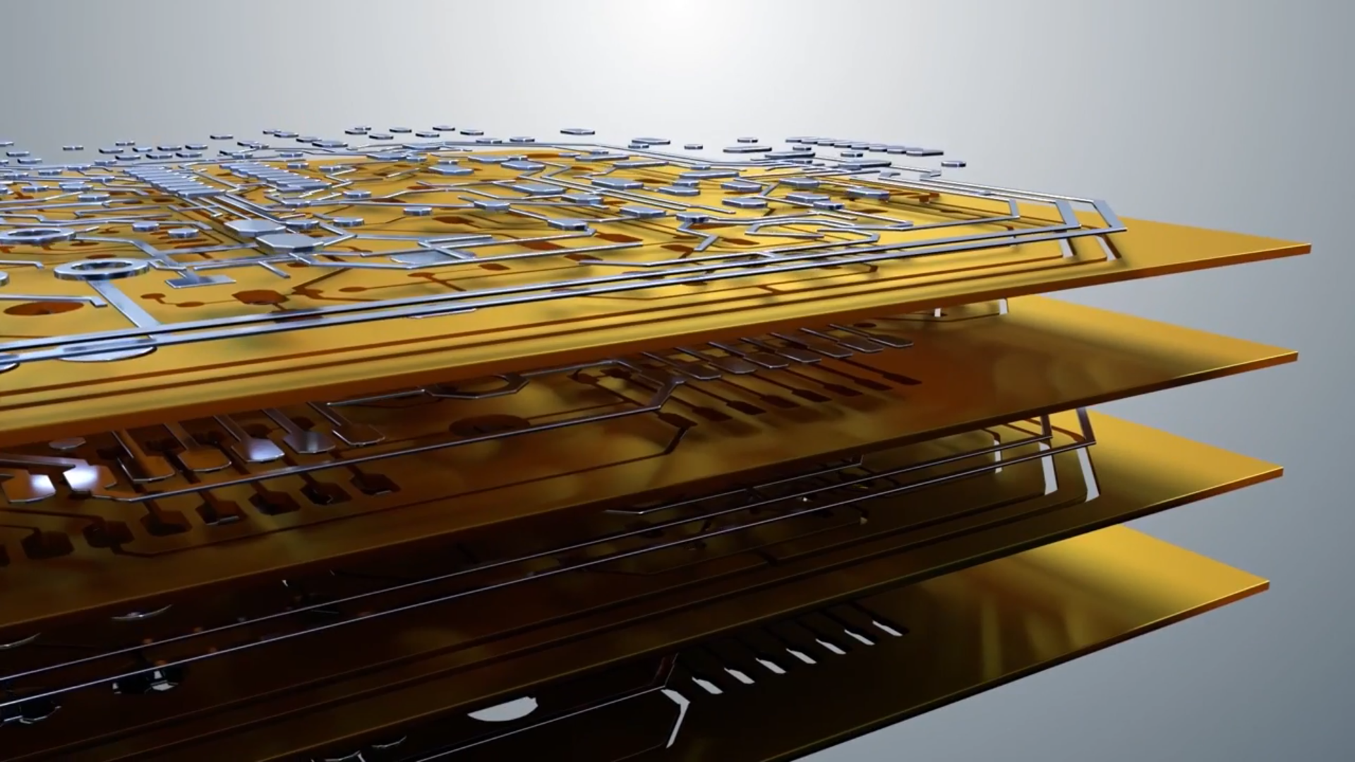 Graphic showing the multiple layers of a 3D printed circuit board. Image via Nano Dimension on YouTube