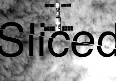 Sliced logo over an aerial image of China's Tiangong II space station. Original image via CAS/CMS/Xinhua
