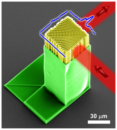 Recoloured image of microscopic 3D printed lattice that can bend rays of light. Image via Kuebler et al.