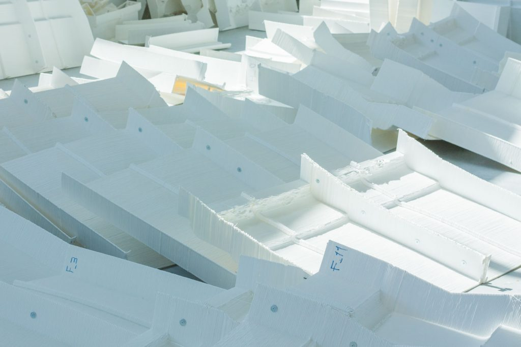 A sample of the 223 3D printed pieces of scenery used to make building facades for Fra Diavolo. Photo via WASProject