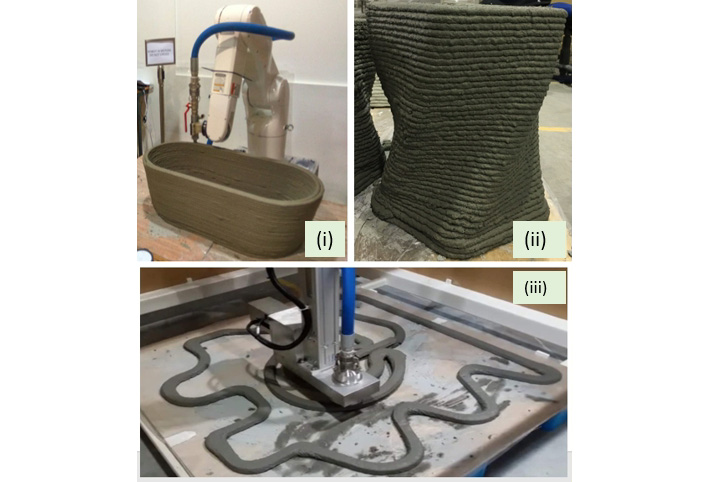Cementing the method - Denso robotic arms 3D print structures at NTU Singapore. Image via the Journal of Cleaner Production.