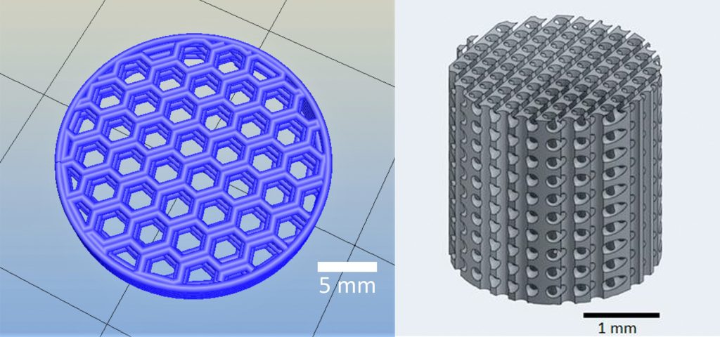 Basic and complex 3D scaffold designs. Images via Huff, Osmond and Krebs