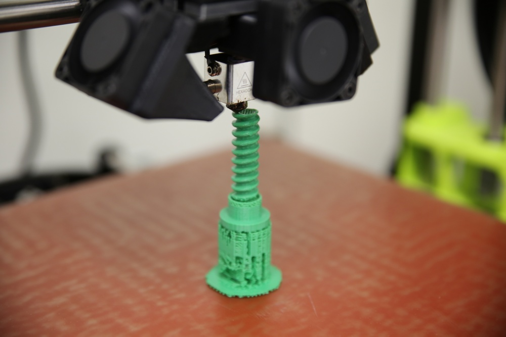 A 3D printed screw made inside the X-FAB. U.S. Marine Corps photo by Monique Randolph