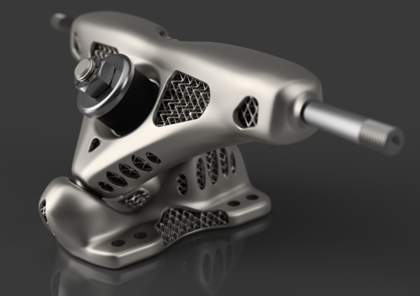 """Jury comment on Project T.O.S.T. (Topology Optimized Skateboard Trucks): """" It´s so lightweight, that even Marty Mc Fly could hover on it."""" Image via 3DPC"""