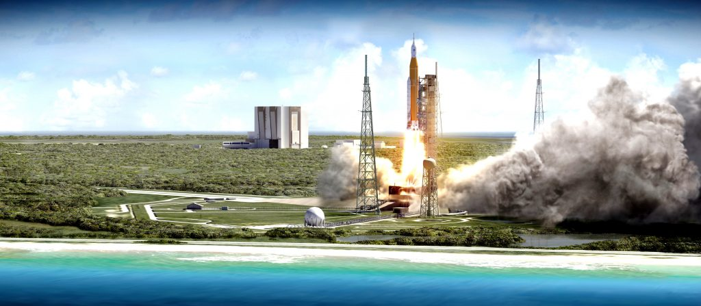 Concept graphic of NASA's forthcoming Space Launch System (SLS) planned missons to Mars. Image via NASA