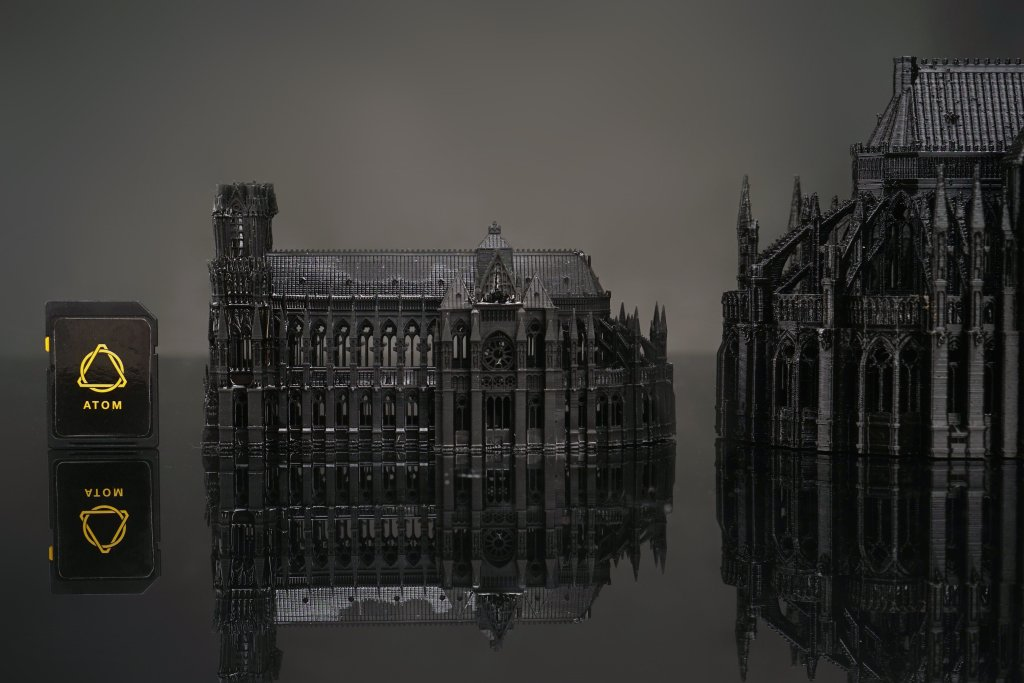Notre Dame cathedral rendered using Atom SLA 3D printing. Image via Layer One