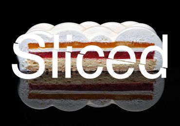 Sliced logo over a cake made using Dinara Kasko's 3D printed cake molds. Original photo by Dinara Kasko