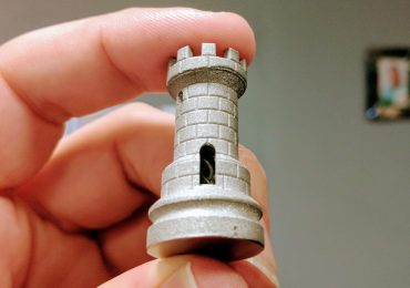 A metal 3D print of the classic rook and double helix from the ORLAS CREATOR. Photo by Michael Petch.