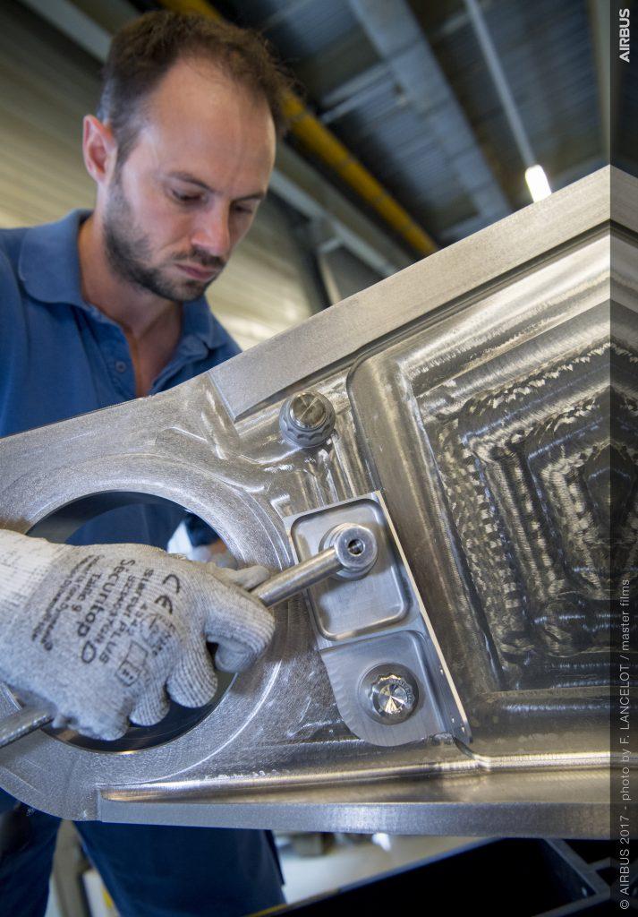 3D printed titanium bracket assembly. Photo by F. Lancelot/Airbus