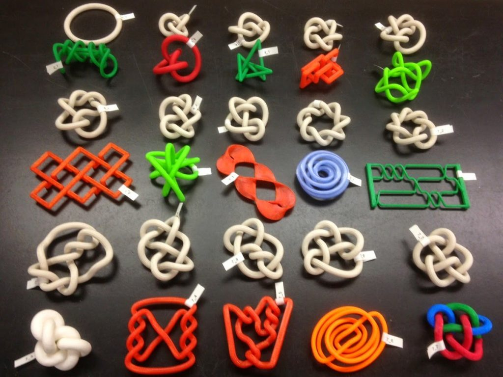 Jonathan Gerhard's 3D printed mathematical models. Photo via Shapeways