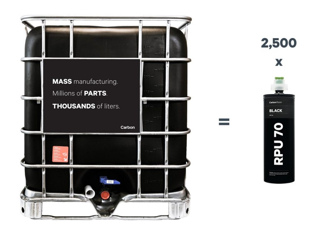 One industrial IBC is the equivalent of 2,500 typical resin cartridges. Image via Carbon