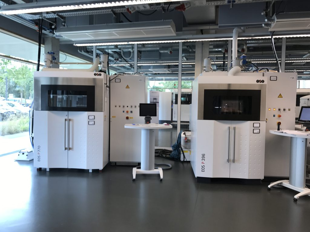 The P 500 is made to complement EOS's existing polymer range of industrial laser sintering 3D printers. Photo by Beau Jackson for 3D Printing Industry