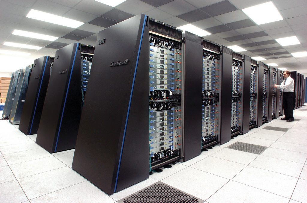 High speed processors inside the IBM Mira supercomputer. Photo via ANL