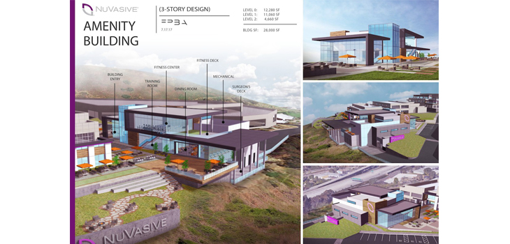 Mock-up of NuVasive's expanded San Diego HQ. Image via NuVasive