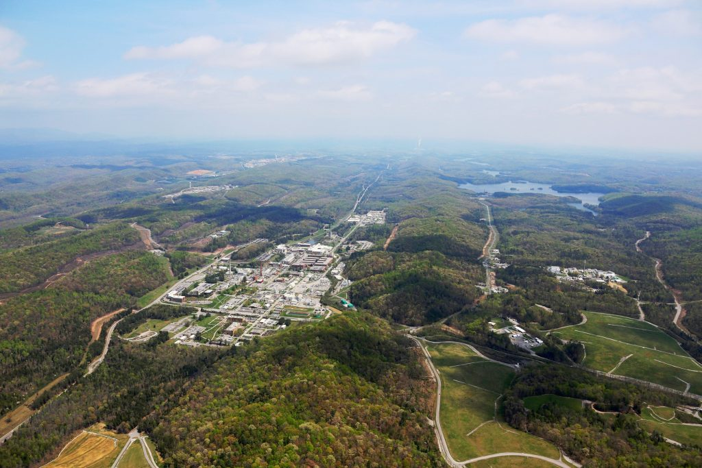 Birds eye vie of Oak Ridge National Laboratory in Tennessee. ORNL photo by Jason Richards.
